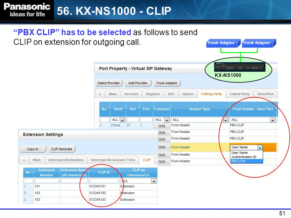56. KX-NS1000 - CLIP PBX CLIP has to be selected as follows to send CLIP on extension for outgoing call.