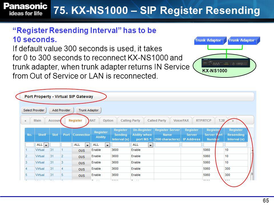 75. KX-NS1000 – SIP Register Resending