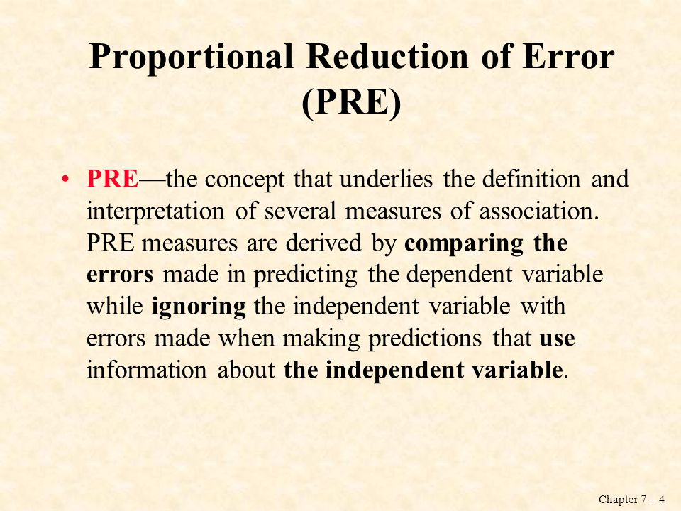 Proportional Reduction of Error (PRE)