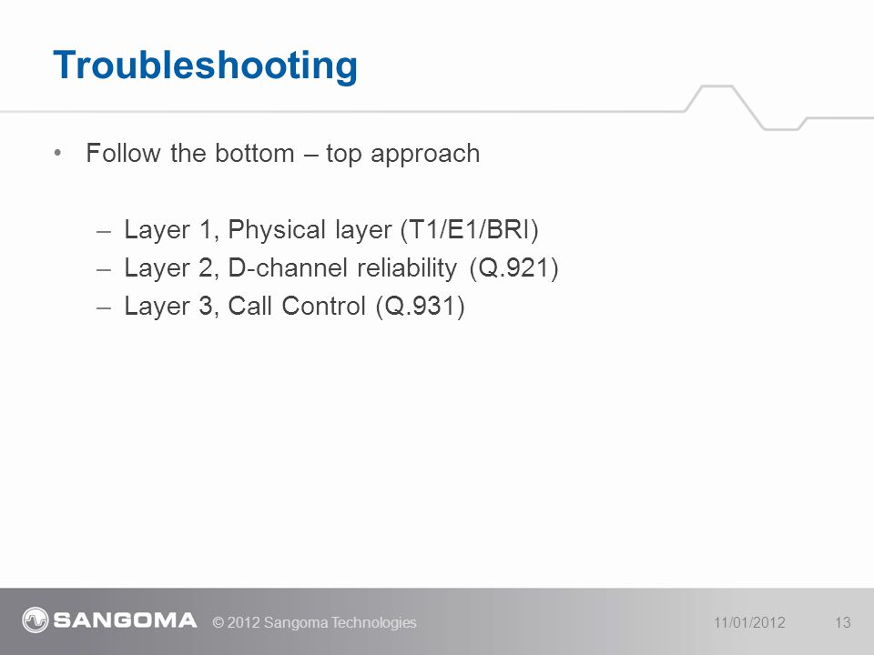Troubleshooting Follow the bottom – top approach