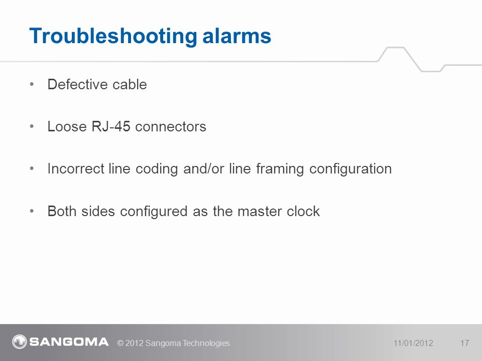 Troubleshooting alarms