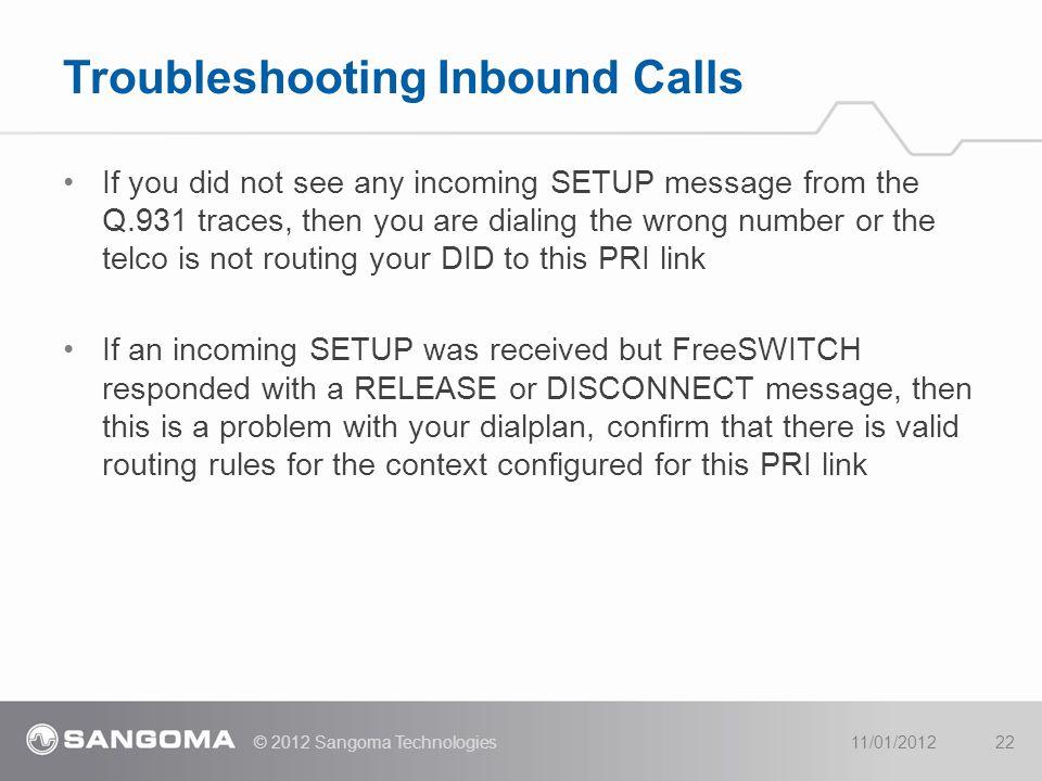 Troubleshooting Inbound Calls