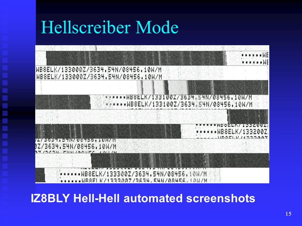Hellscreiber Mode IZ8BLY Hell-Hell automated screenshots