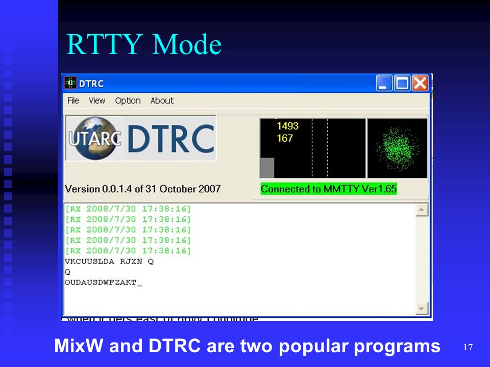 RTTY Mode MixW and DTRC are two popular programs