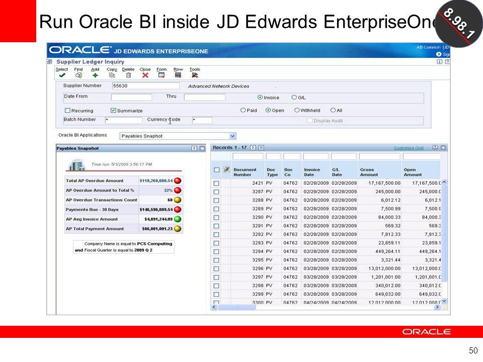 Run Oracle BI inside JD Edwards EnterpriseOne