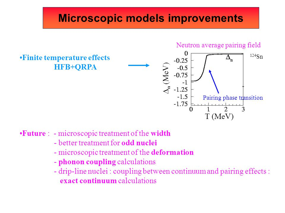 Microscopic models improvements