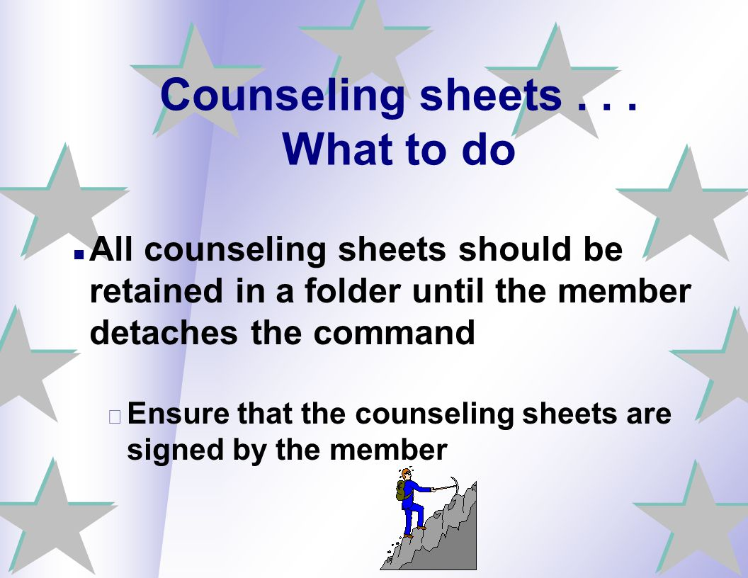Counseling sheets . . . What to do