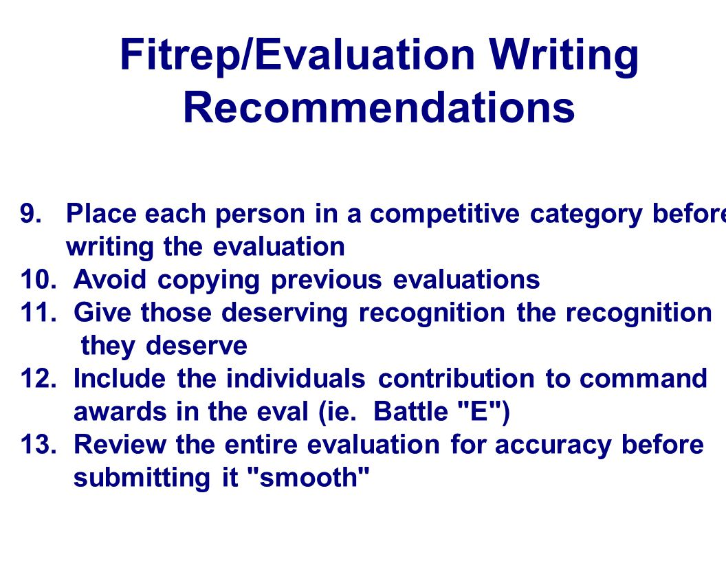 Fitrep/Evaluation Writing