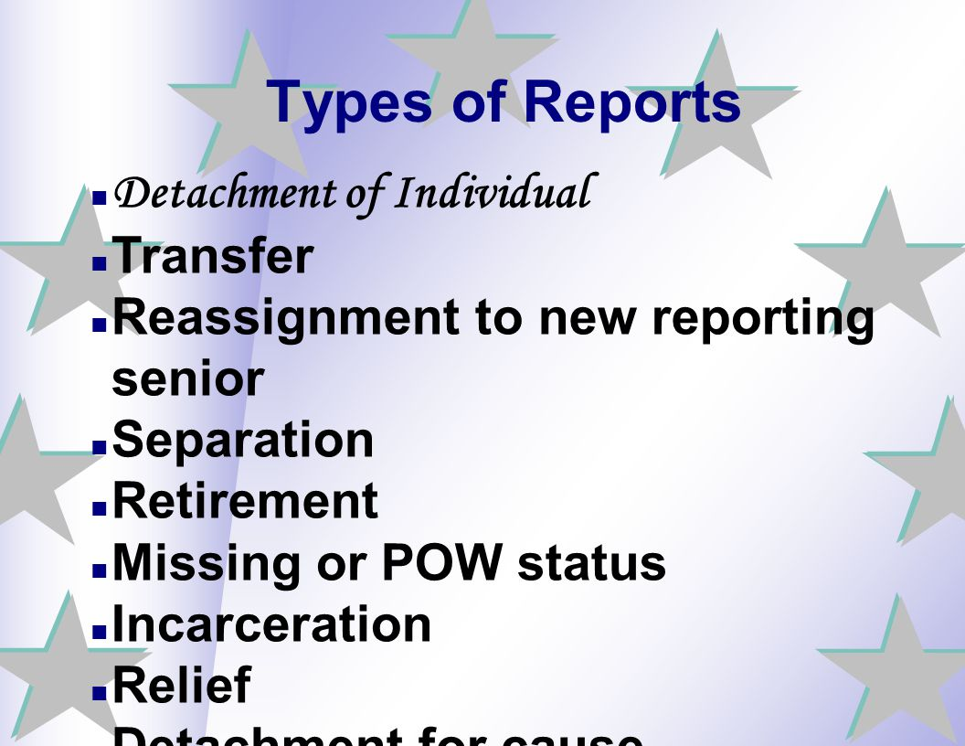 Types of Reports Detachment of Individual Transfer