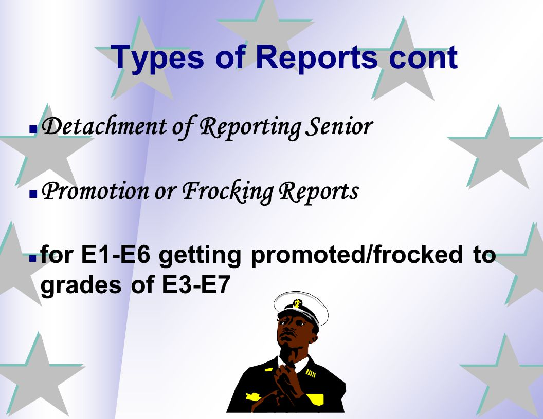 Types of Reports cont Detachment of Reporting Senior
