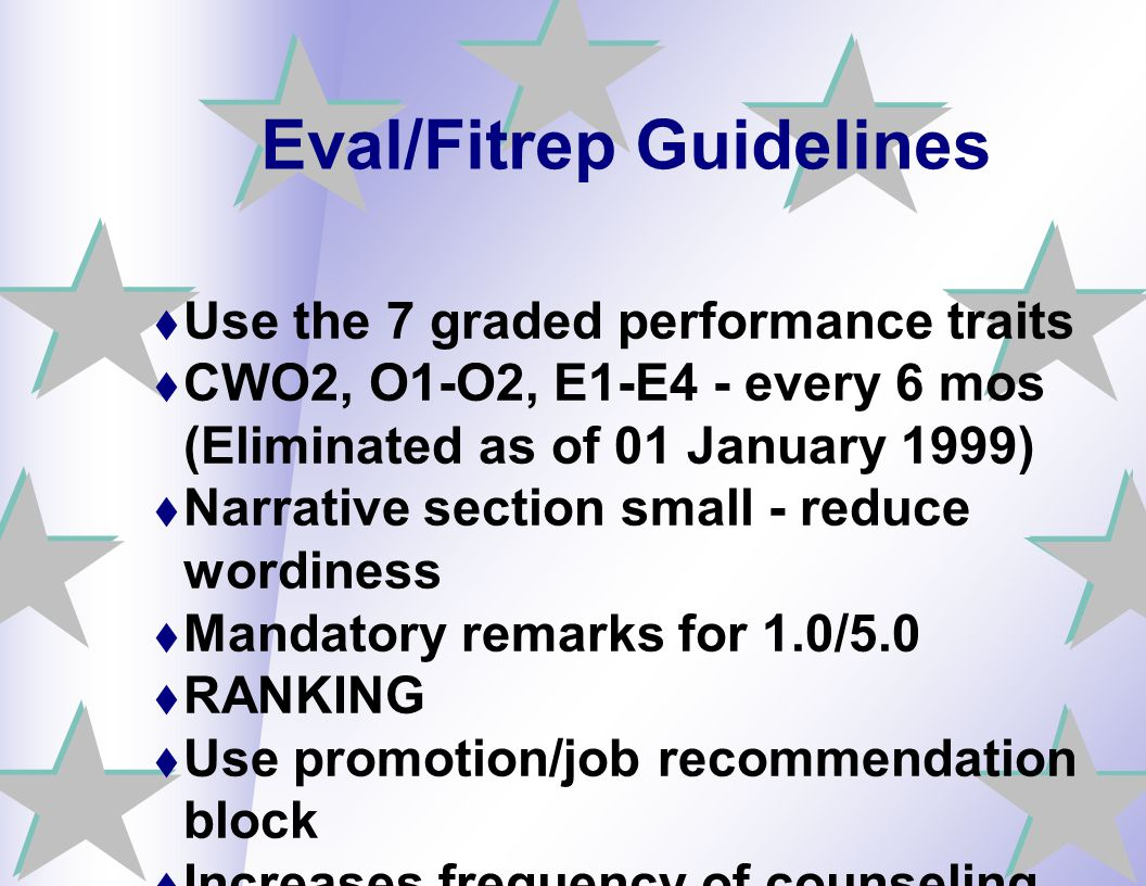 Eval/Fitrep Guidelines