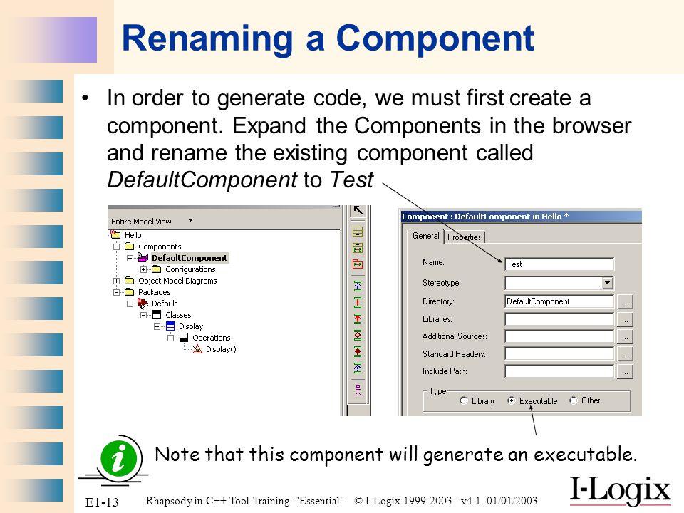 Renaming a Component