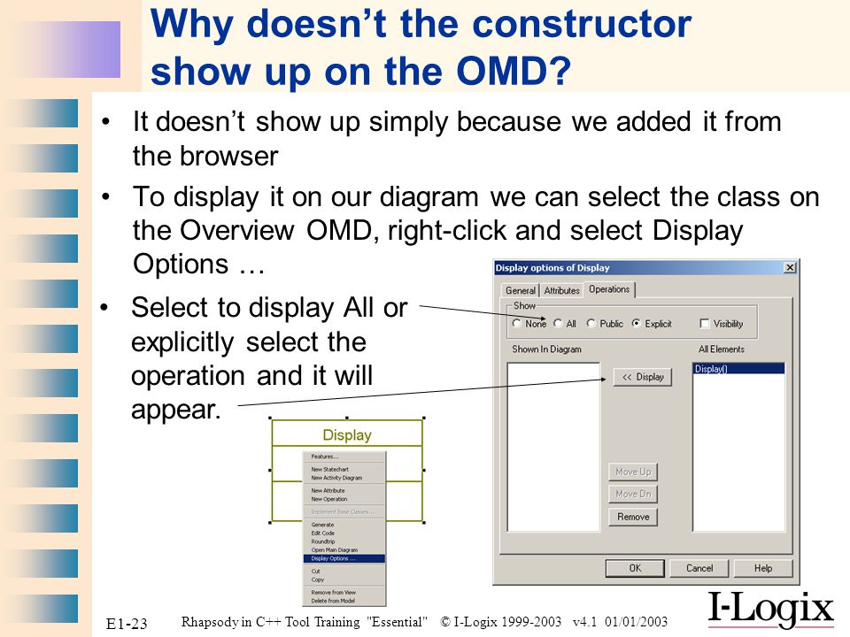 Why doesn't the constructor show up on the OMD