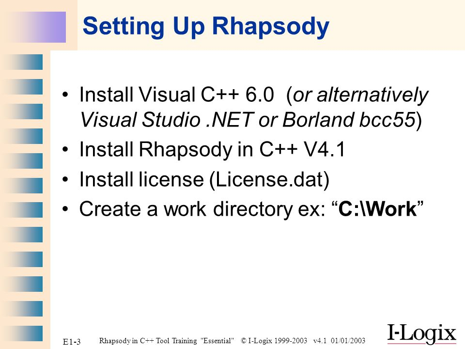Setting Up Rhapsody Install Visual C++ 6.0 (or alternatively Visual Studio .NET or Borland bcc55) Install Rhapsody in C++ V4.1.