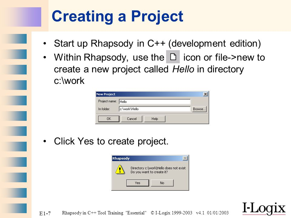 Creating a Project Start up Rhapsody in C++ (development edition)