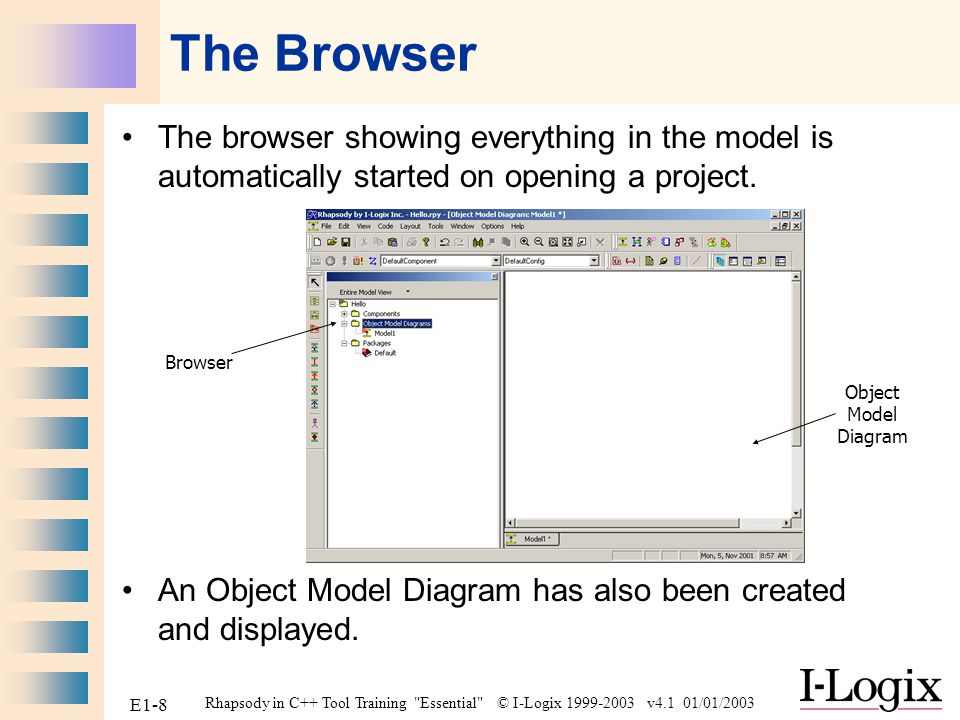 The Browser The browser showing everything in the model is automatically started on opening a project.