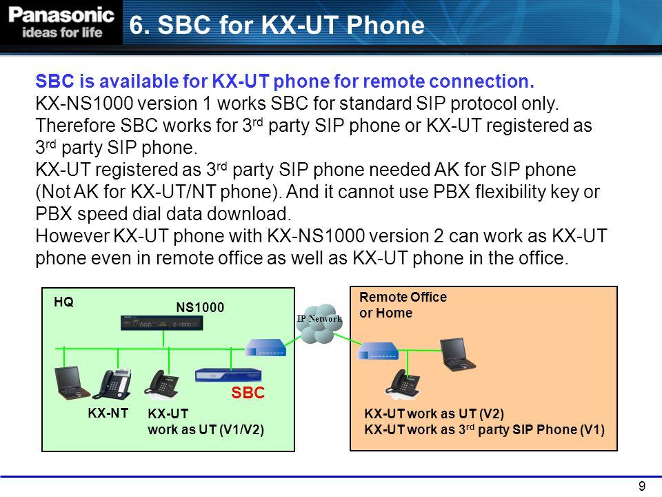 6. SBC for KX-UT Phone