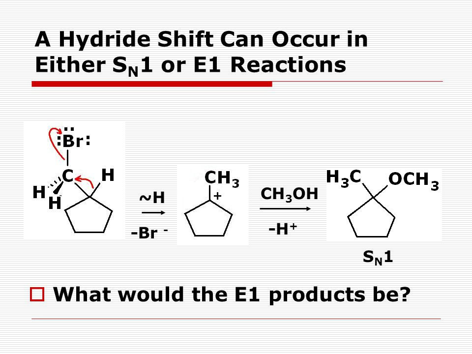 A Hydride Shift Can Occur in Either SN1 or E1 Reactions