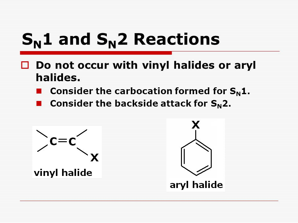 SN1 and SN2 Reactions Do not occur with vinyl halides or aryl halides.