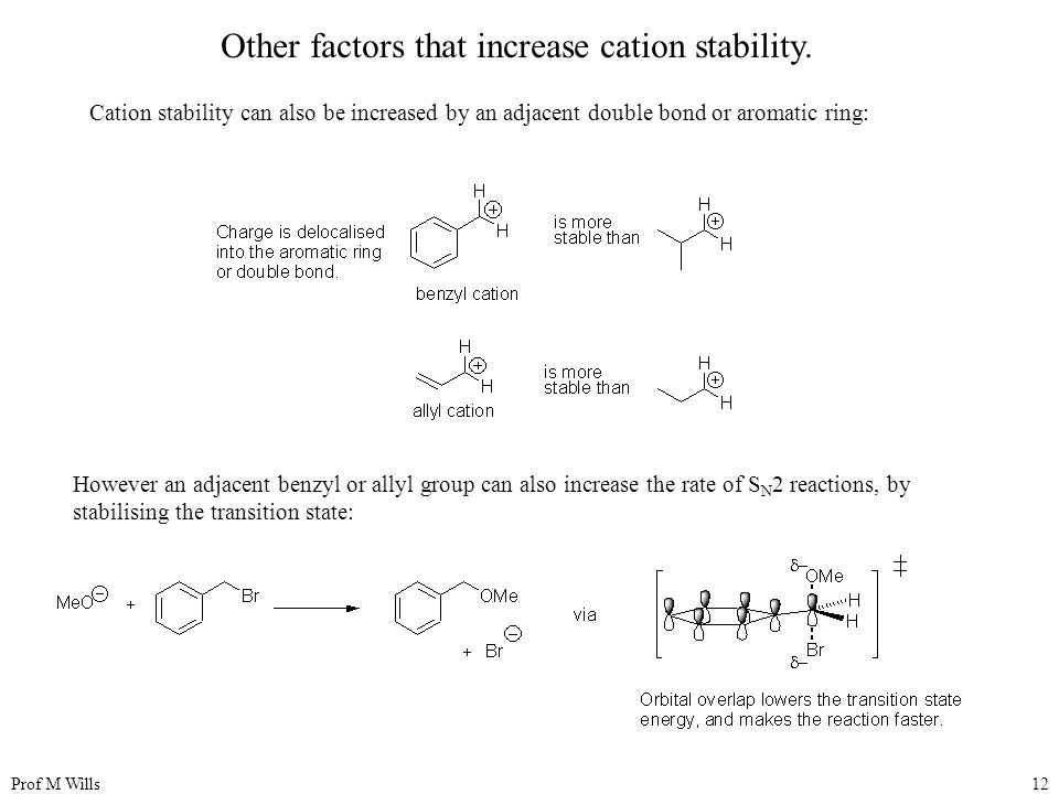 Other factors that increase cation stability.