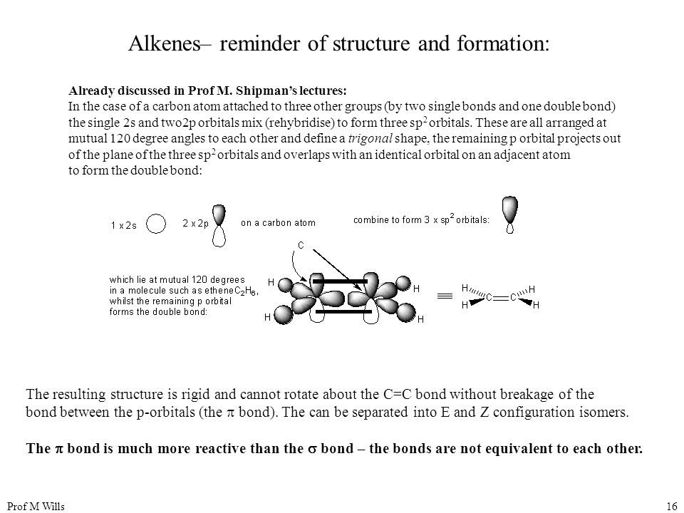 Alkenes– reminder of structure and formation: