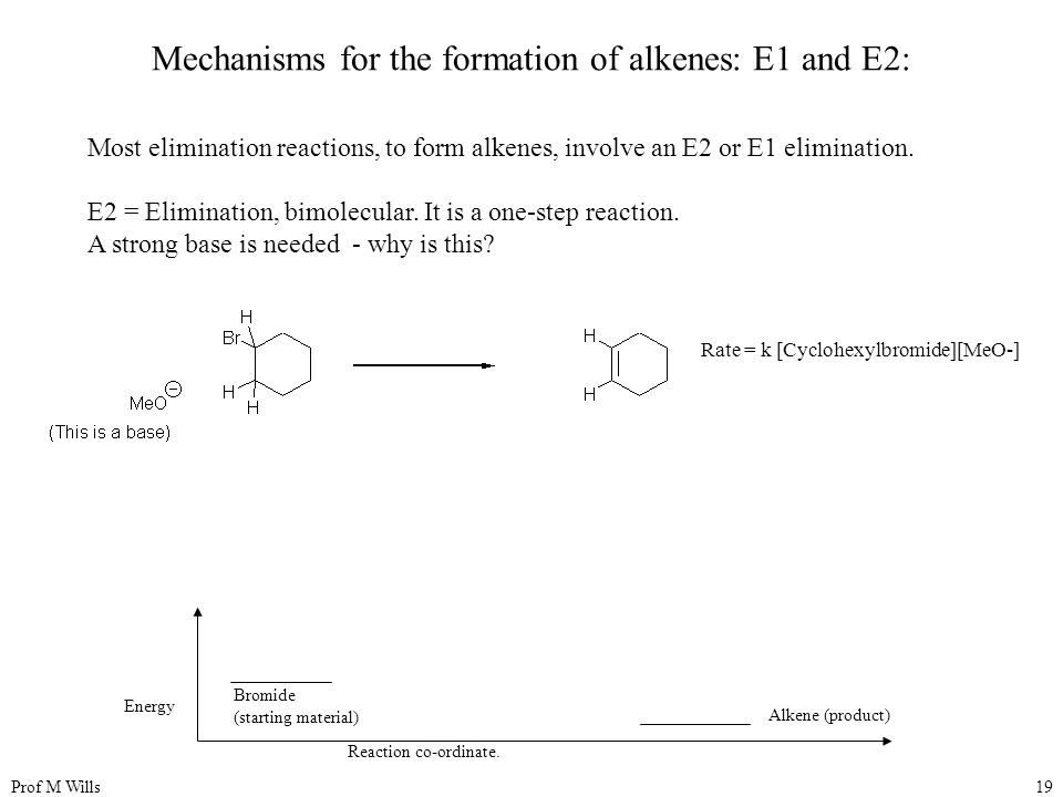 Mechanisms for the formation of alkenes: E1 and E2: