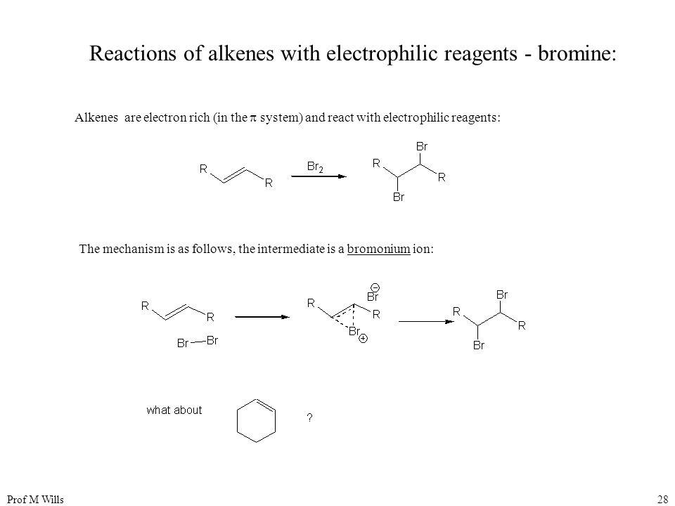 Reactions of alkenes with electrophilic reagents - bromine: