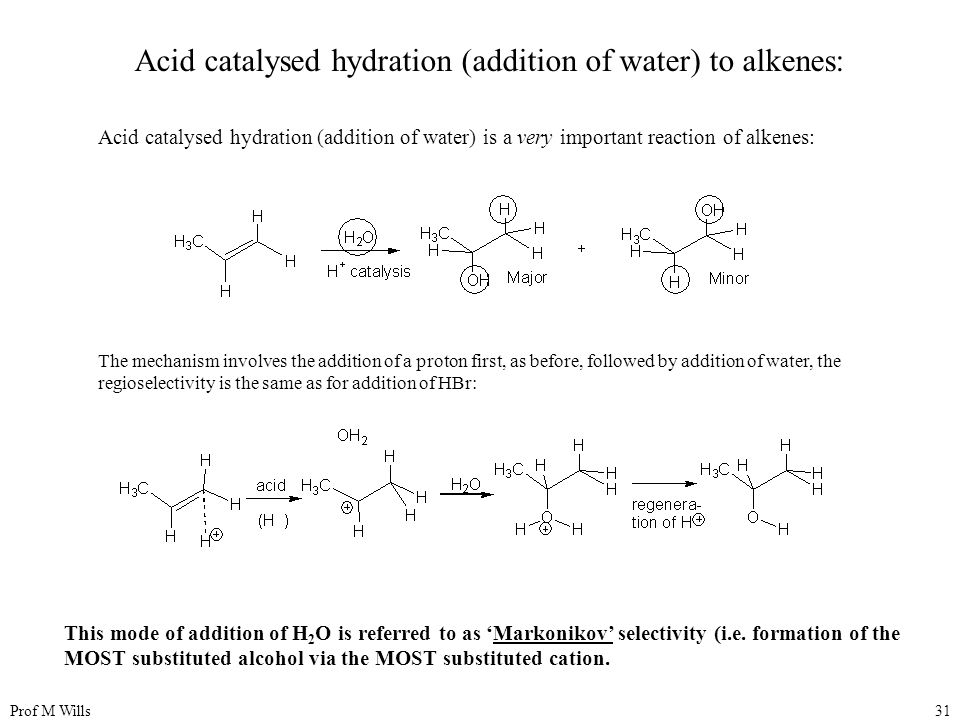 Acid catalysed hydration (addition of water) to alkenes:
