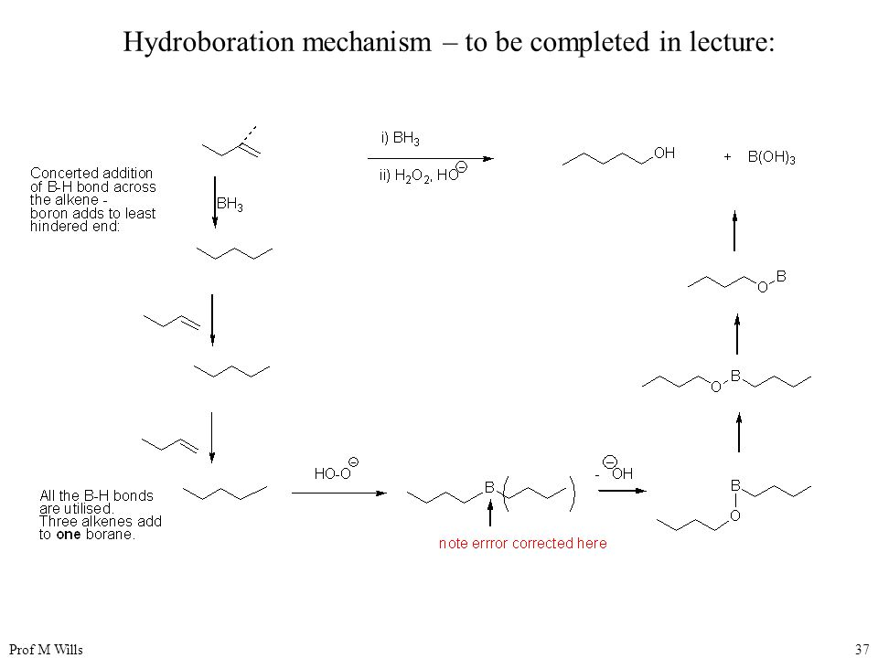 Hydroboration mechanism – to be completed in lecture: