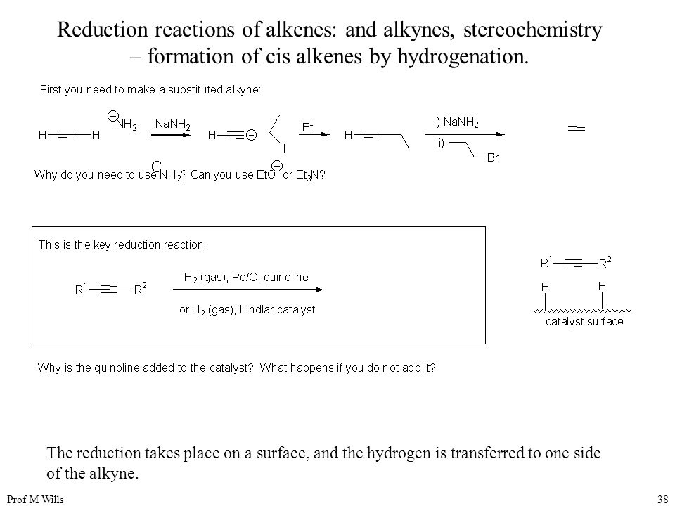 Reduction reactions of alkenes: and alkynes, stereochemistry – formation of cis alkenes by hydrogenation.