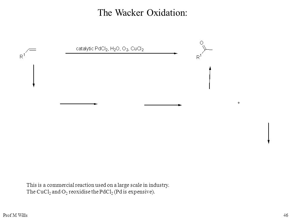 The Wacker Oxidation: This is a commercial reaction used on a large scale in industry. The CuCl2 and O2 reoxidise the PdCl2 (Pd is expensive).