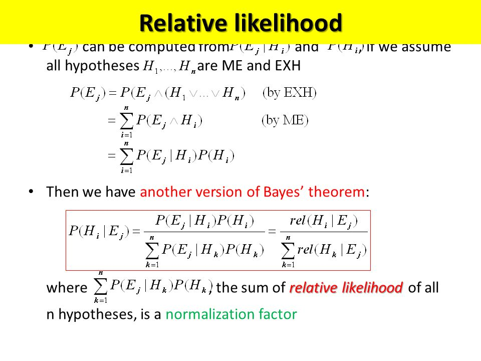 Relative likelihood can be computed from and , if we assume all hypotheses are ME and EXH.