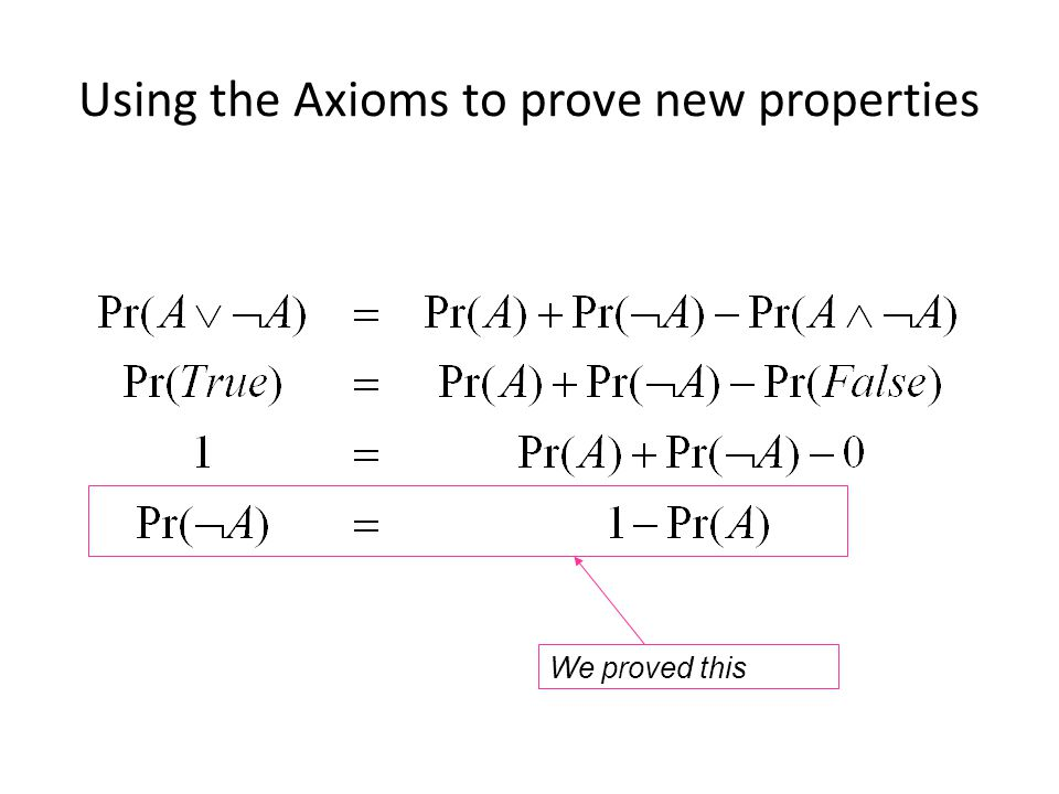 Using the Axioms to prove new properties