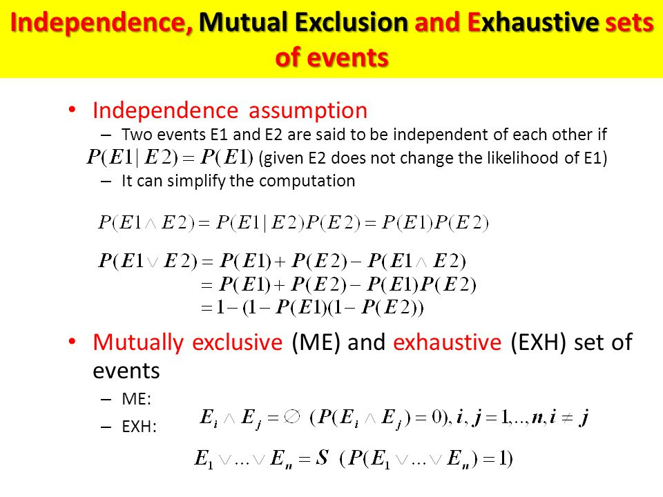 Independence, Mutual Exclusion and Exhaustive sets of events