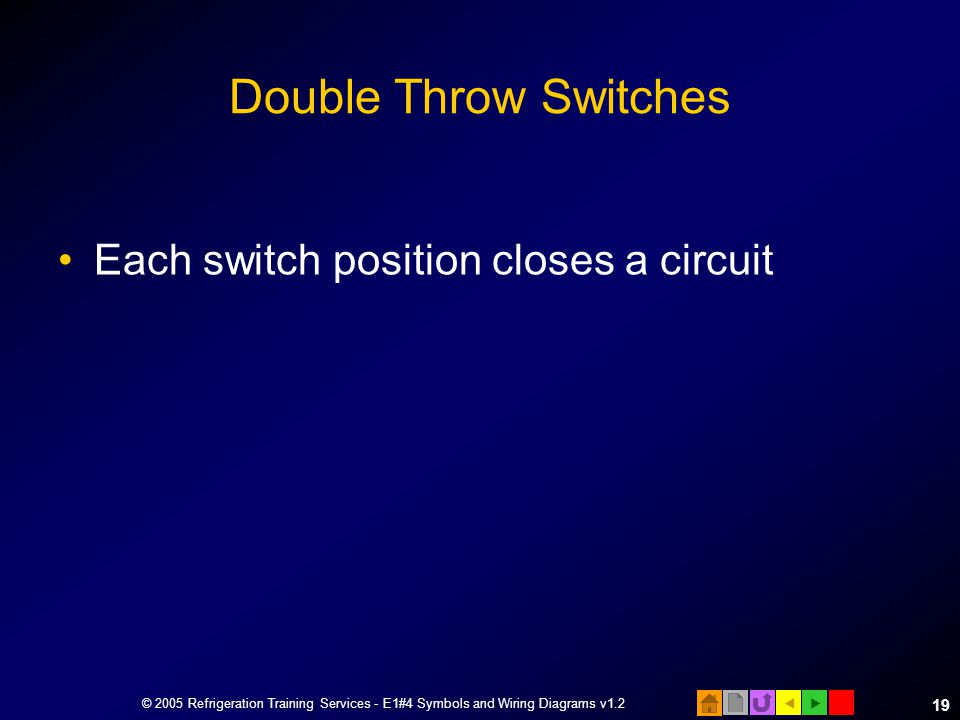 Double Throw Switches Each switch position closes a circuit