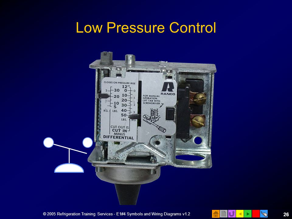 Low+Pressure+Control+%C2%A9+2005+Refrigeration+Training+Services+ +E1%234+Symbols+and+Wiring+Diagrams+v1.2 e1 electrical fundamentals ppt video online download ranco pressure control wiring diagram at aneh.co
