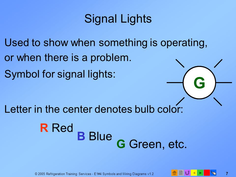 R B G Signal Lights R Red B Blue G Green, etc.