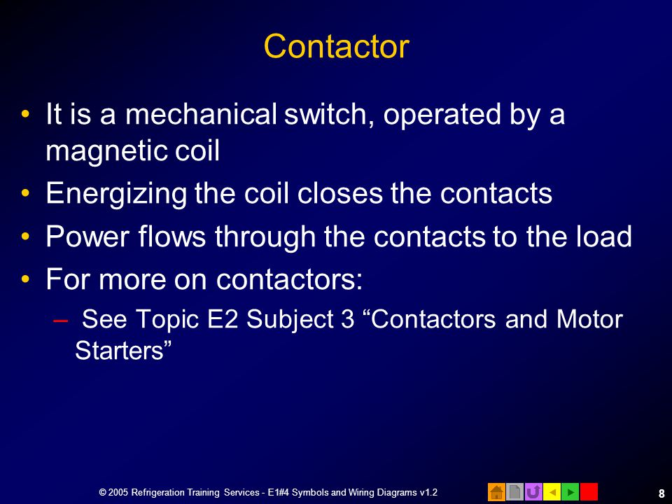 Contactor It is a mechanical switch, operated by a magnetic coil
