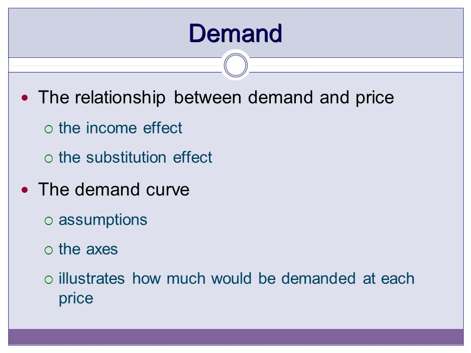 Demand The relationship between demand and price The demand curve