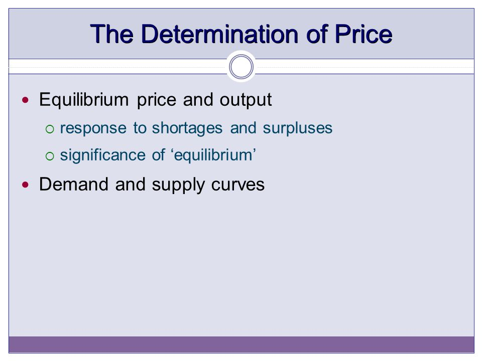 The Determination of Price