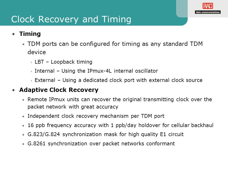 Clock Recovery and Timing