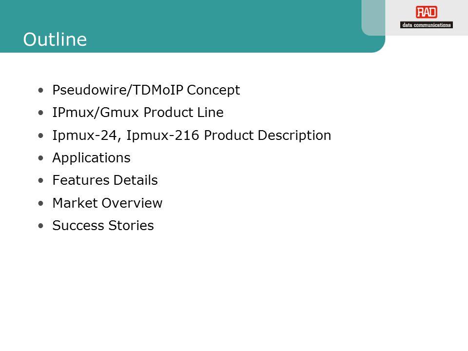 Outline Pseudowire/TDMoIP Concept IPmux/Gmux Product Line