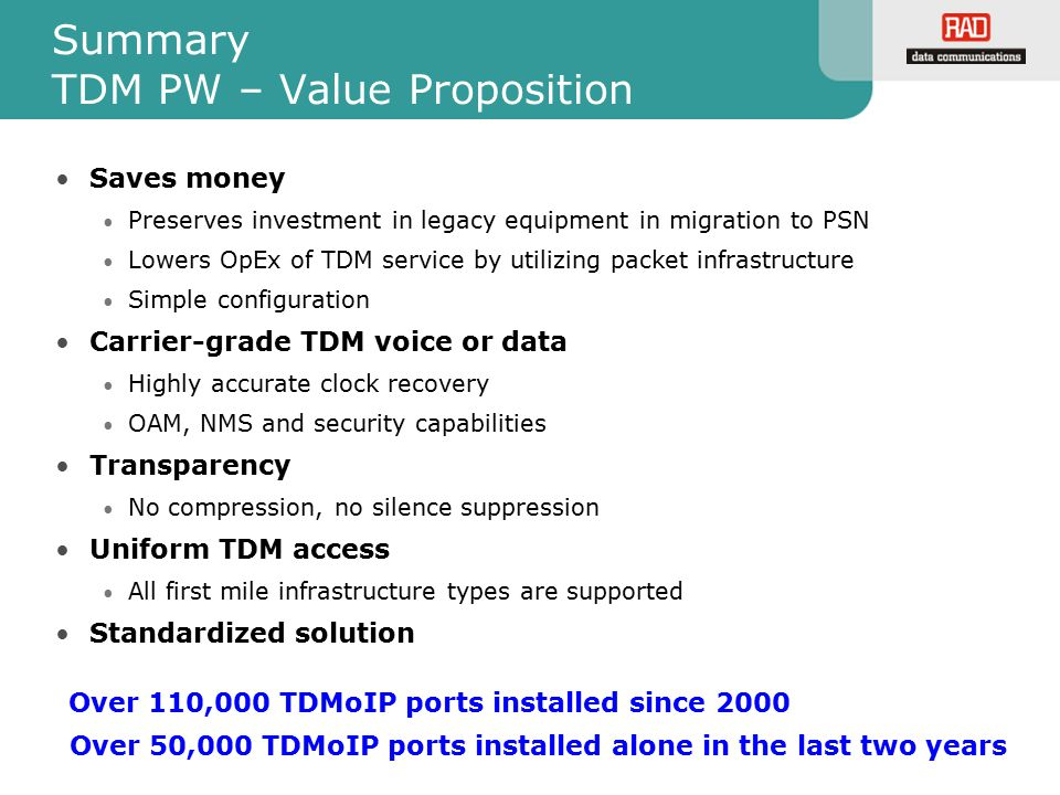 Summary TDM PW – Value Proposition