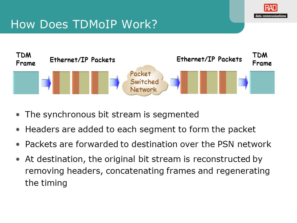 How Does TDMoIP Work The synchronous bit stream is segmented