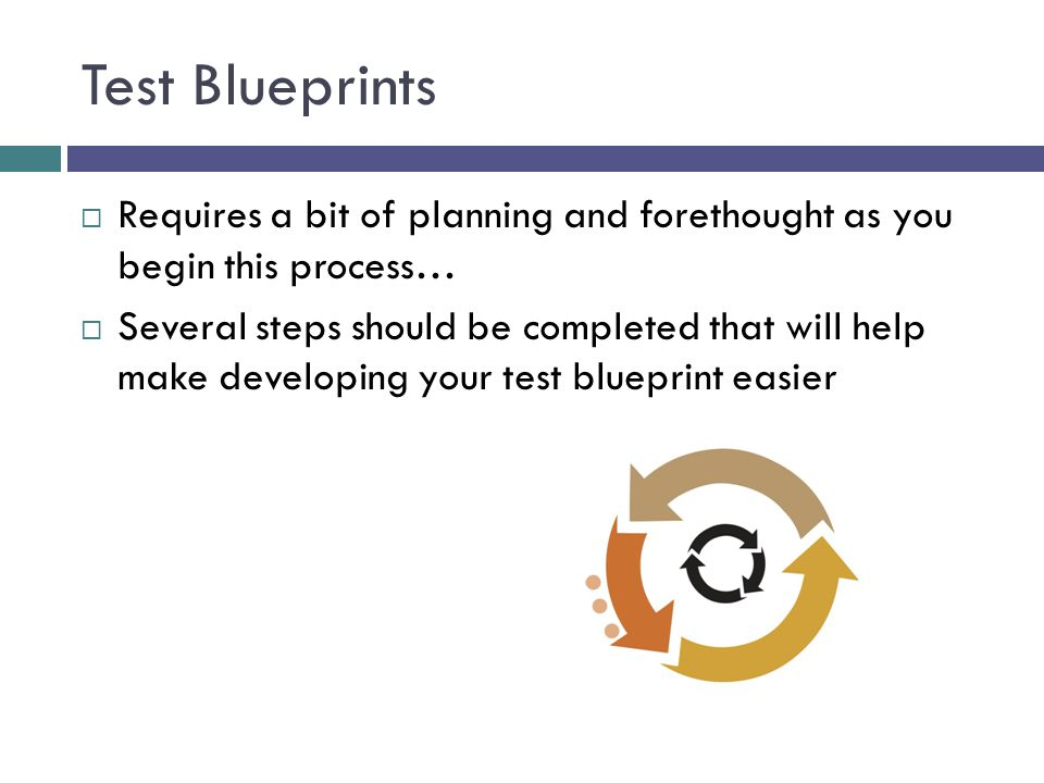 Test Blueprints Requires a bit of planning and forethought as you begin this process…