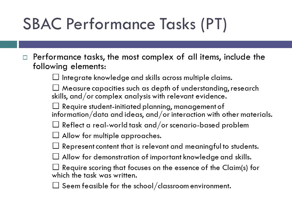 SBAC Performance Tasks (PT)