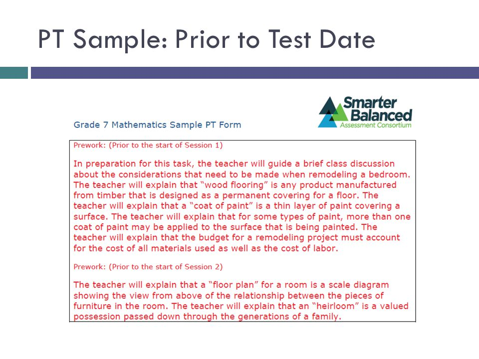 PT Sample: Prior to Test Date
