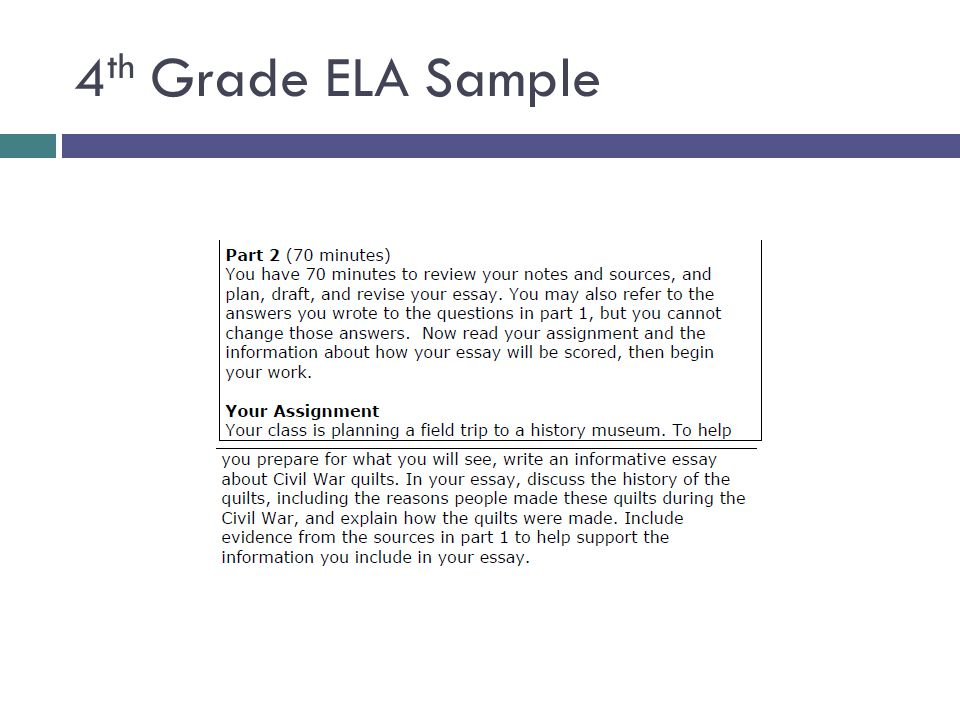 4th Grade ELA Sample