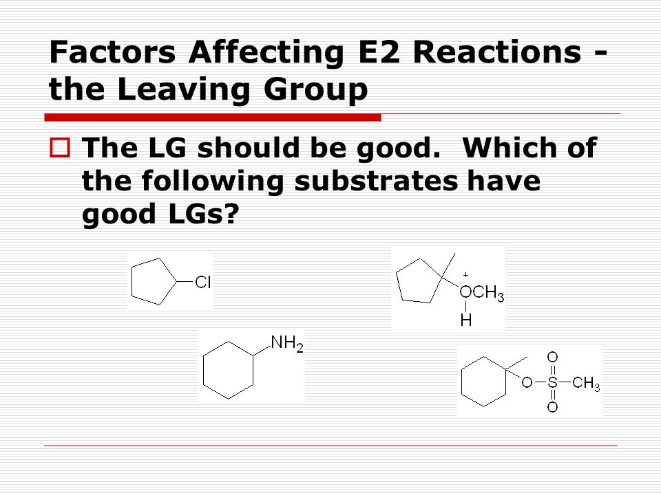 Factors Affecting E2 Reactions - the Leaving Group