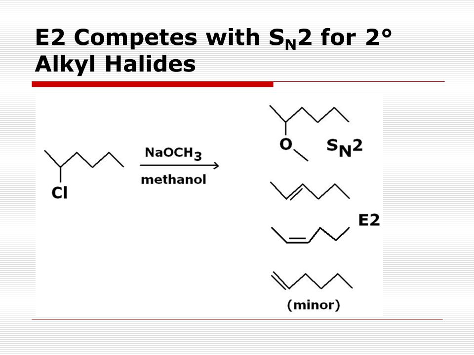 E2 Competes with SN2 for 2° Alkyl Halides